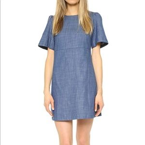 WAYF Sz L Chambray A-line Short Sleeve Dress
